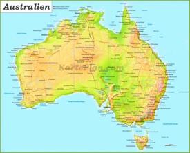 Australien karte mit städten