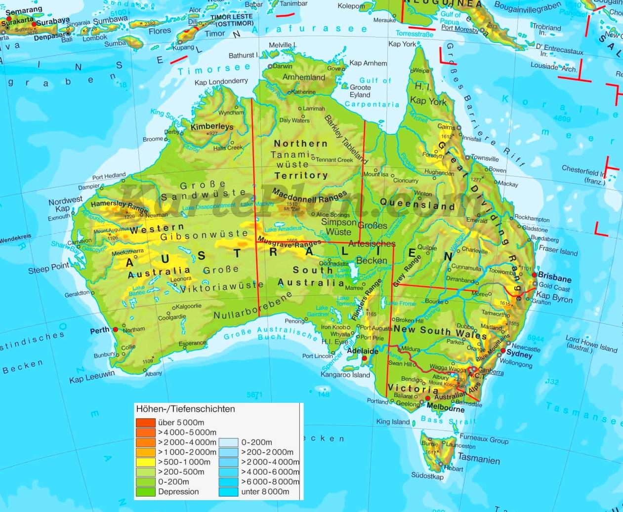 Physische Landkarte Von Australien