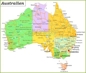 australien karte landkarten von australien. Black Bedroom Furniture Sets. Home Design Ideas