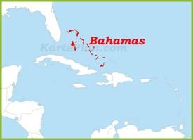 Bahamas auf der karte Karibiks