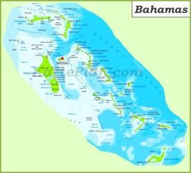 Große detaillierte karte von Bahamas