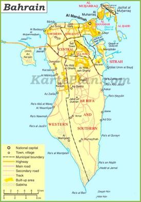 Große detaillierte karte von Bahrain