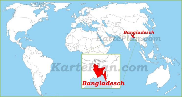 Bangladesch auf der Weltkarte