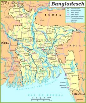Große detaillierte karte von Bangladesch