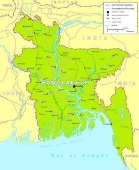 Politische karte von Bangladesch