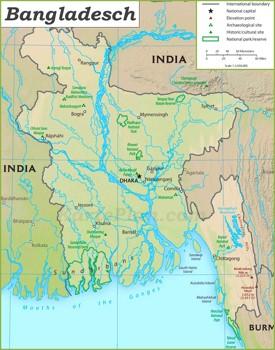 Touristische karte von Bangladesch