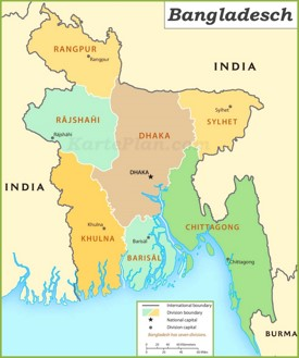 Verwaltungskarte von Bangladesch