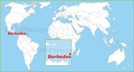 Barbados auf der Weltkarte
