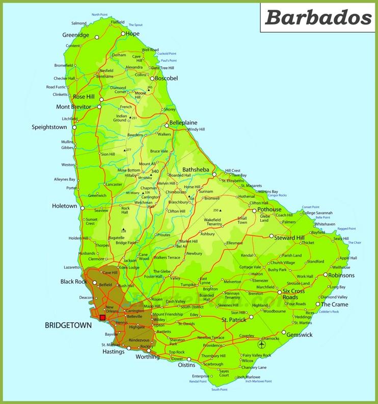 Große detaillierte karte von Barbados