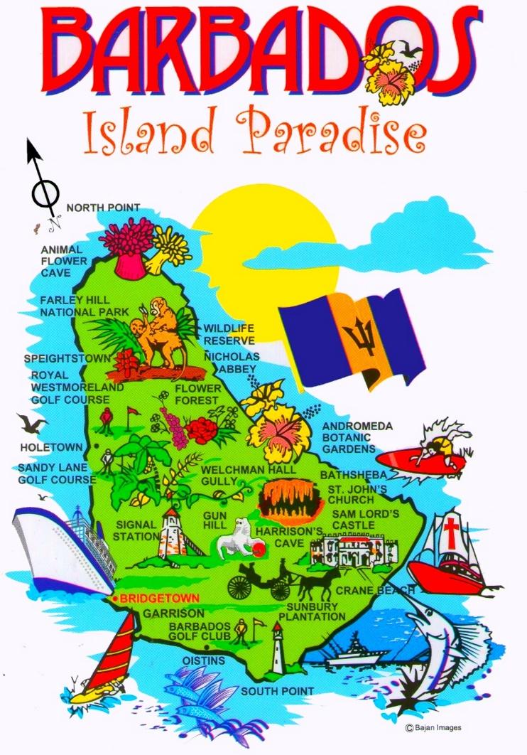 Touristische karte von Barbados