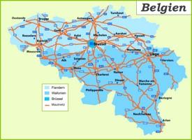 Belgien Straßenkarte