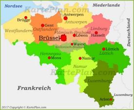 Politische karte von Belgien