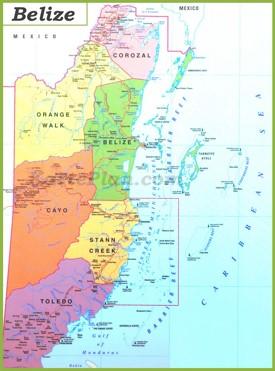 Große detaillierte karte von Belize