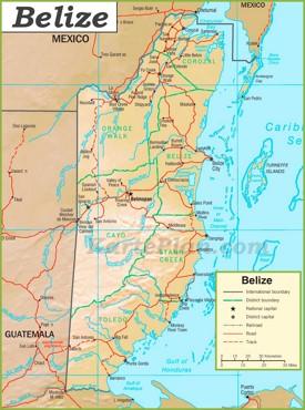 Politische karte von Belize