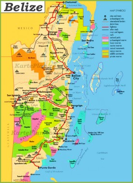 Touristische karte von Belize