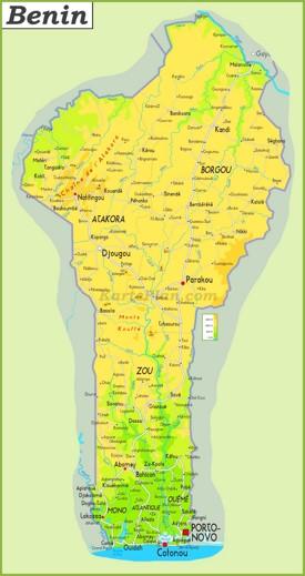 Große detaillierte karte von Benin