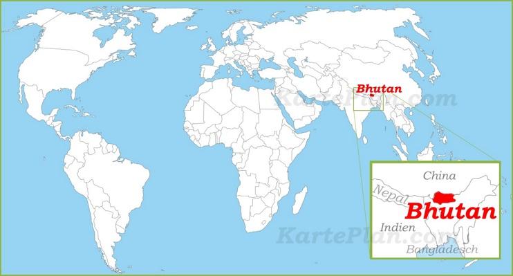 Bhutan auf der Weltkarte