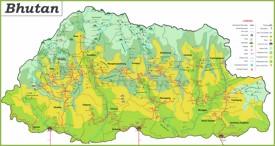 Große detaillierte karte von Bhutan
