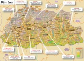 Physische landkarte von Bhutan