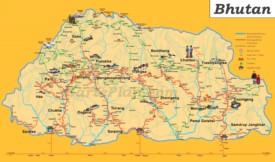 Touristische karte von Bhutan