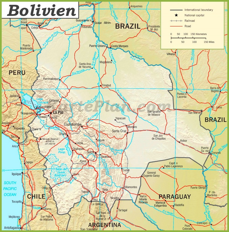 Bolivien Straßenkarte