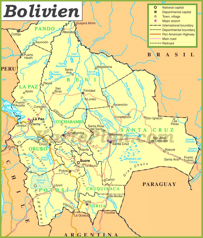 Politische Karte Von Bolivien