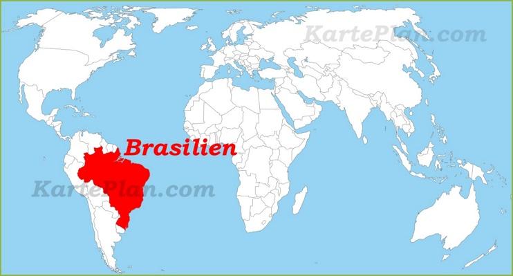 Brasilien auf der Weltkarte