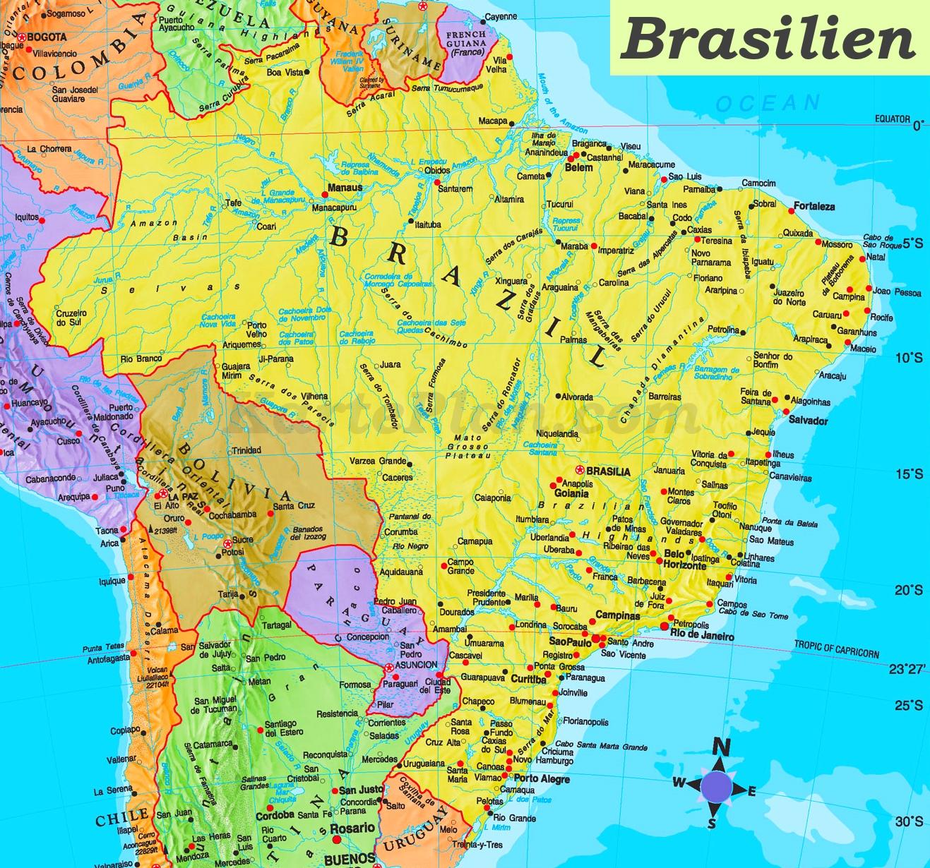 karte brasilien Brasilien politische karte