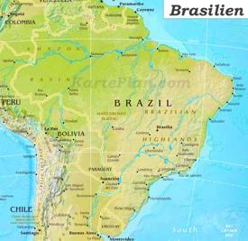 Physische landkarte von Brasilien