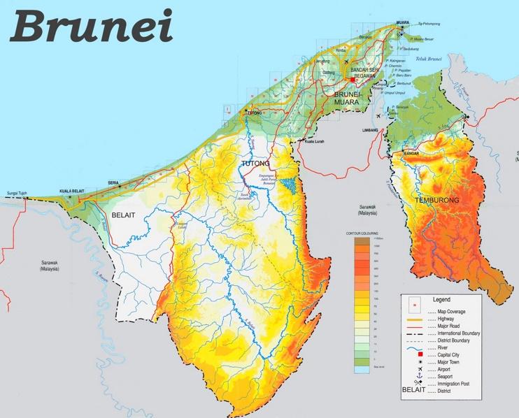 Physische landkarte von Brunei