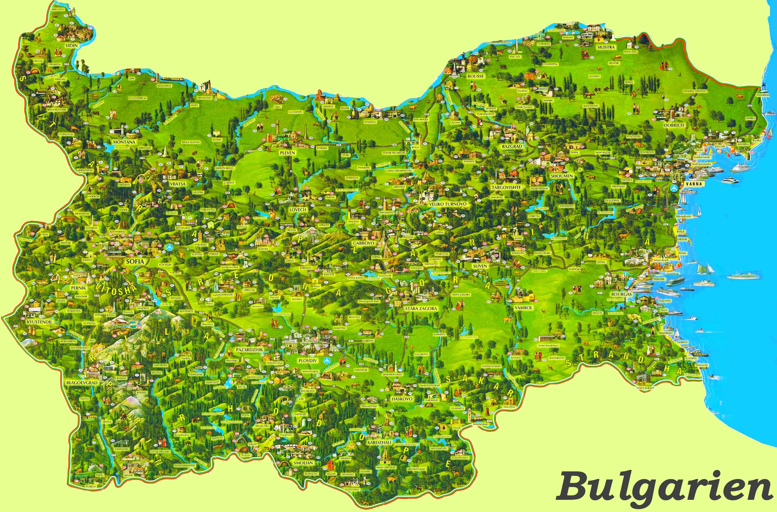 Karte Bulgarien.Bulgarien Touristische Karte