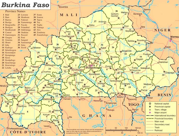 Burkina Faso politische karte