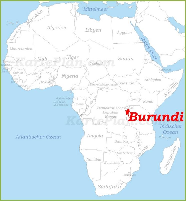 Burundi auf der karte Afrikas