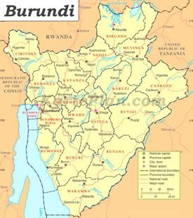 Burundi Straßenkarte