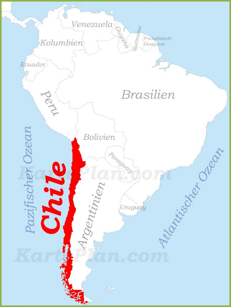 Chile auf der karte Südamerikas