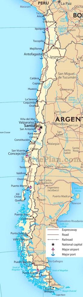 Chile Straßenkarte