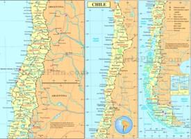Große detaillierte karte von Chile