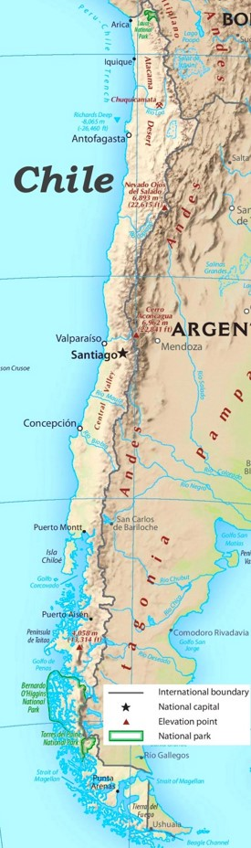 Physische landkarte von Chile
