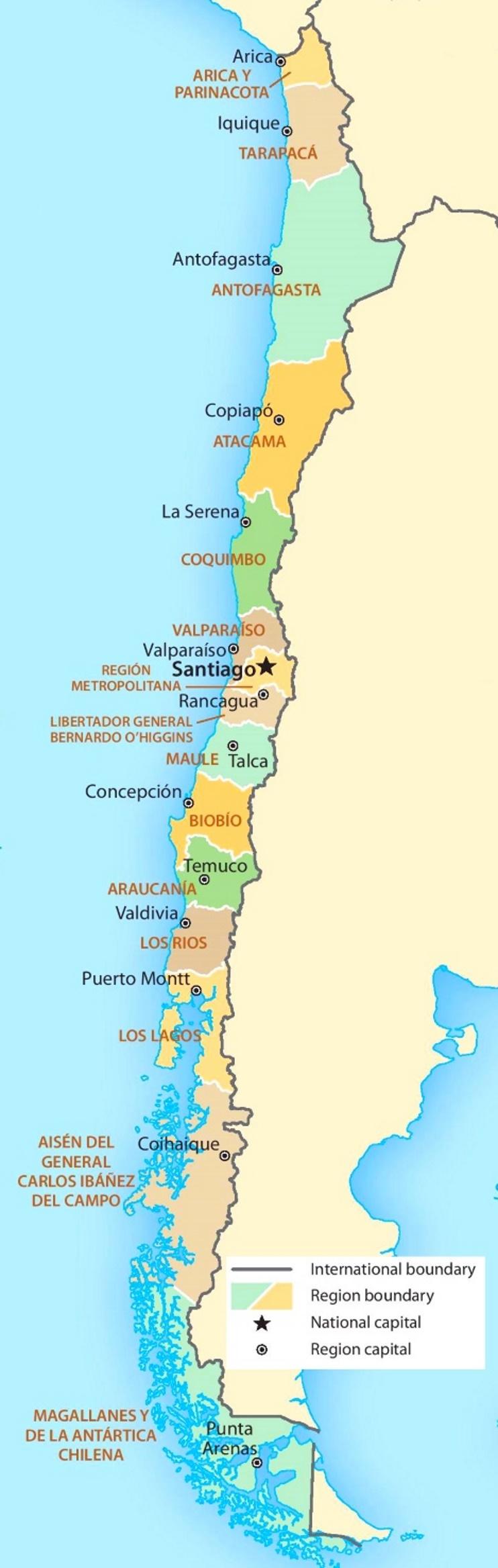 Verwaltungskarte von Chile