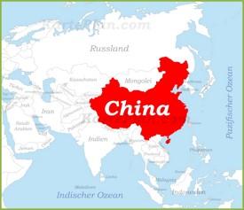 China auf der karte Asiens