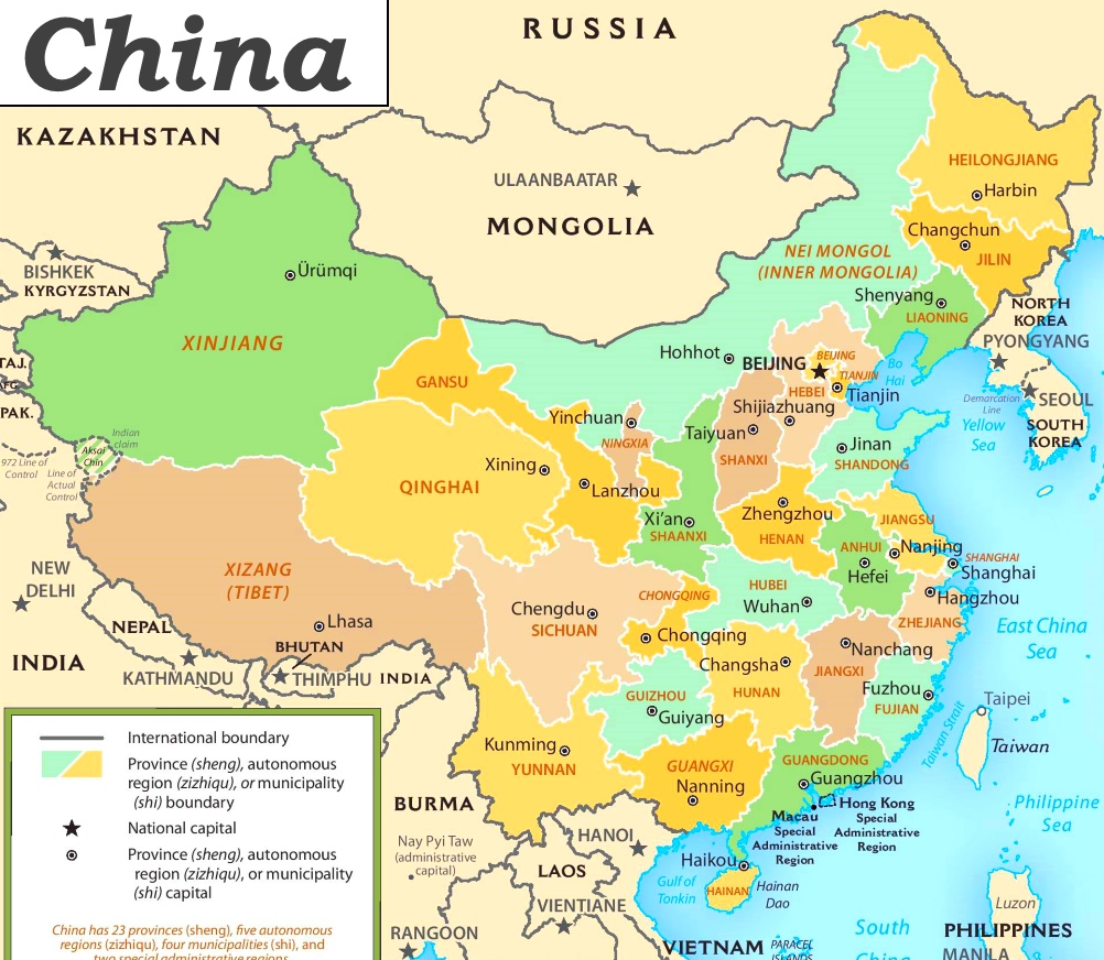 china politische karte China politische karte