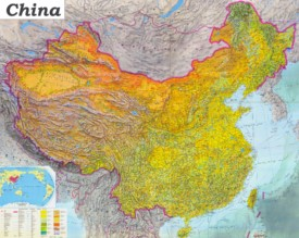 China Karte Physisch.China Karte Landkarten Von Volksrepublik China
