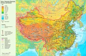 Physische landkarte von China