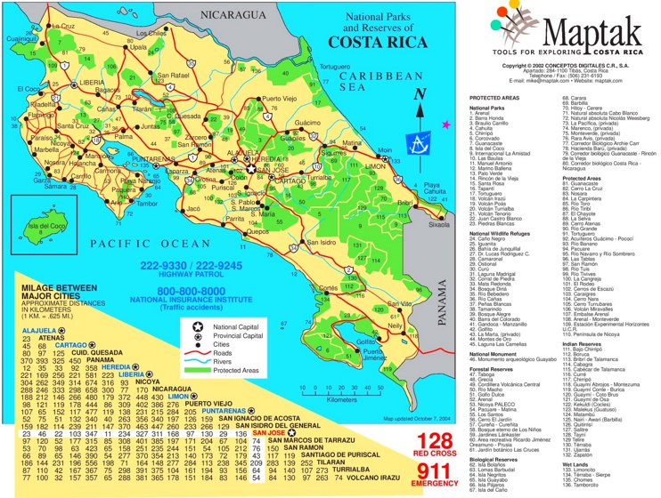 Costa Rica Straßenkarte