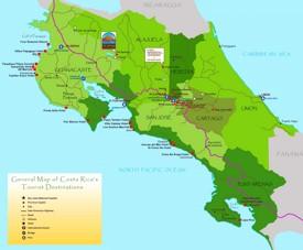 Costa Rica touristische karte