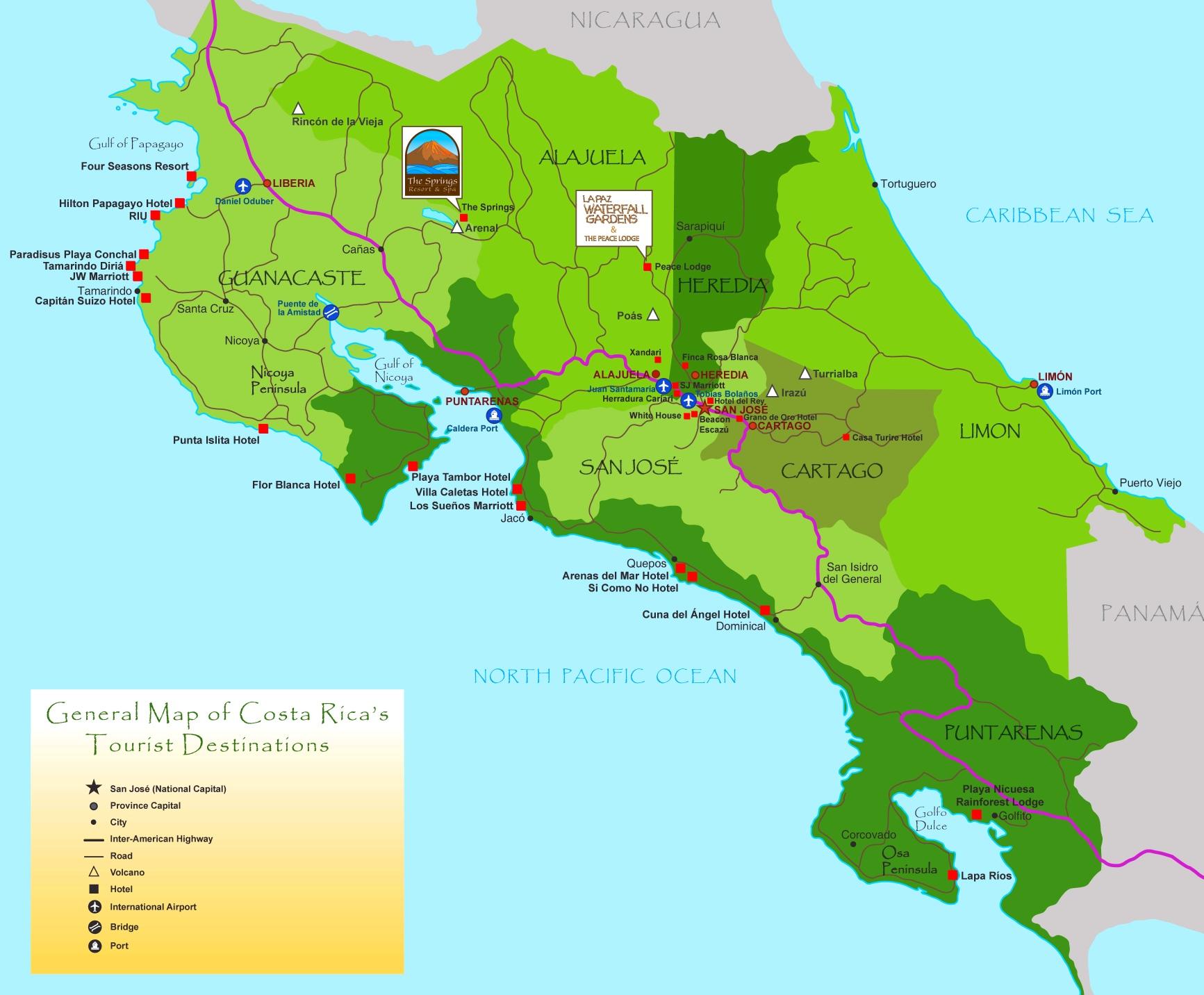 Costa Rica Karte Sehenswurdigkeiten.Costa Rica Touristische Karte