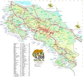 Große detaillierte karte von Costa Rica