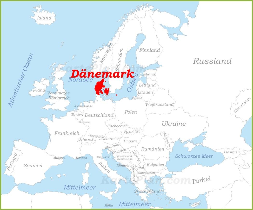 dänemark karte europa Dänemark auf der karte Europas