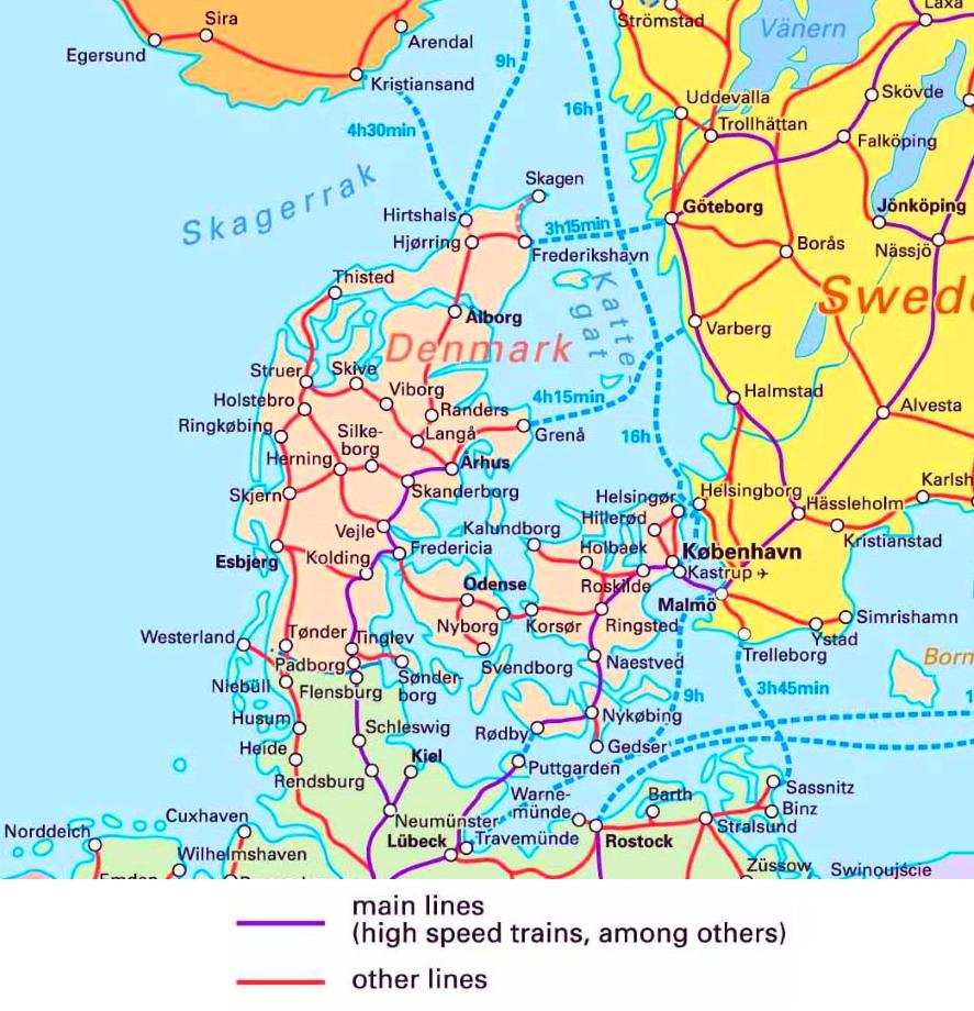 karte eisenbahnnetz dänemark Eisenbahnkarte von Dänemark