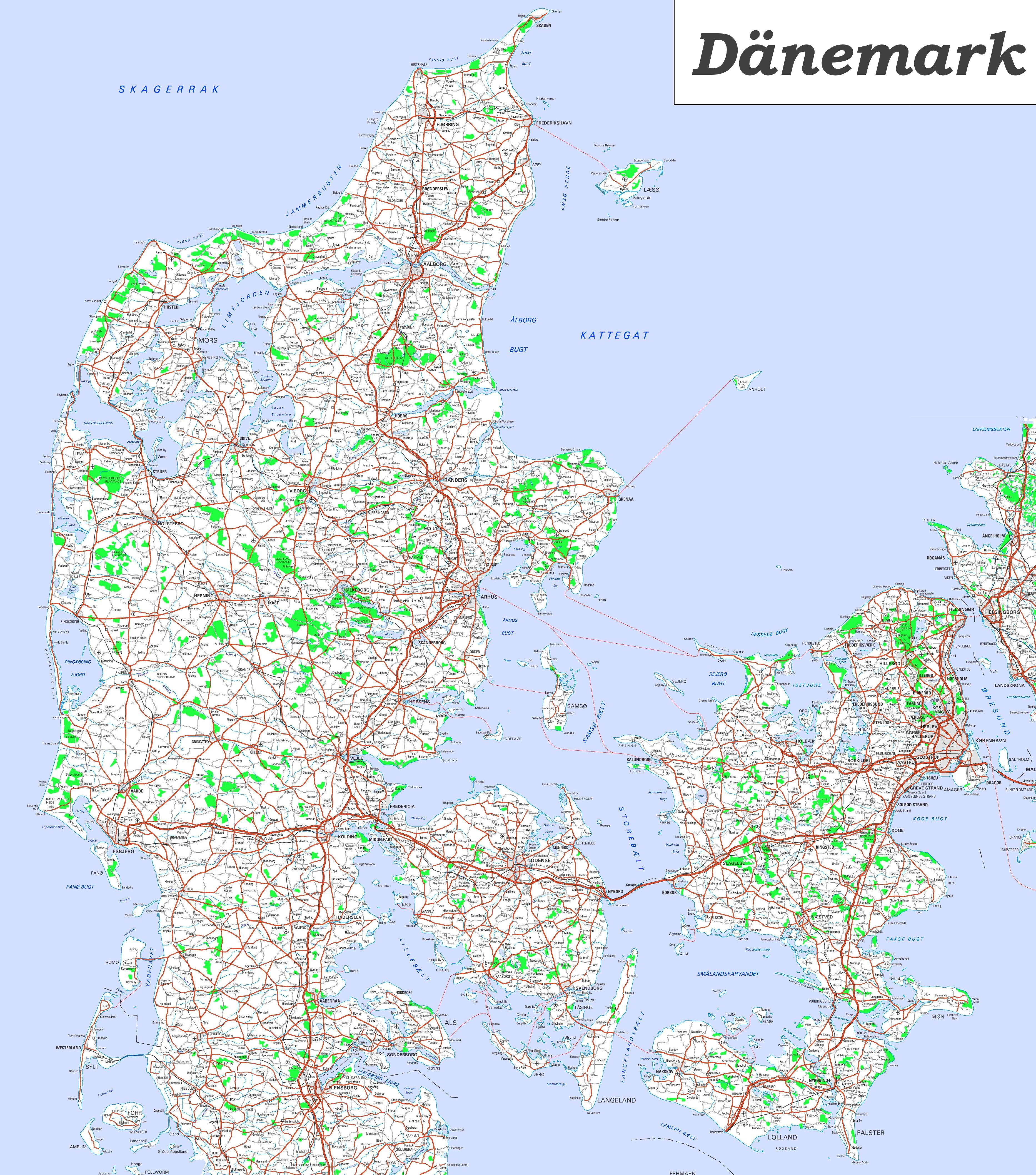 Karte Von.Große Detaillierte Karte Von Dänemark